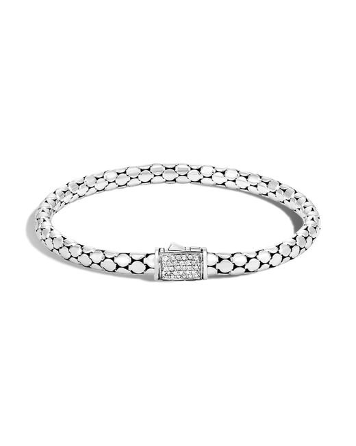 John Hardy | Metallic Sterling Silver Dot Slim Chain Bracelet With Diamonds | Lyst