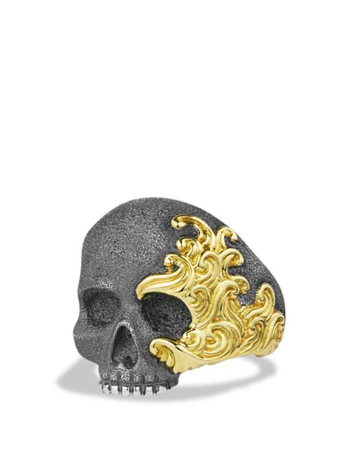 David Yurman - Metallic Waves Large Skull Ring With Gold for Men - Lyst