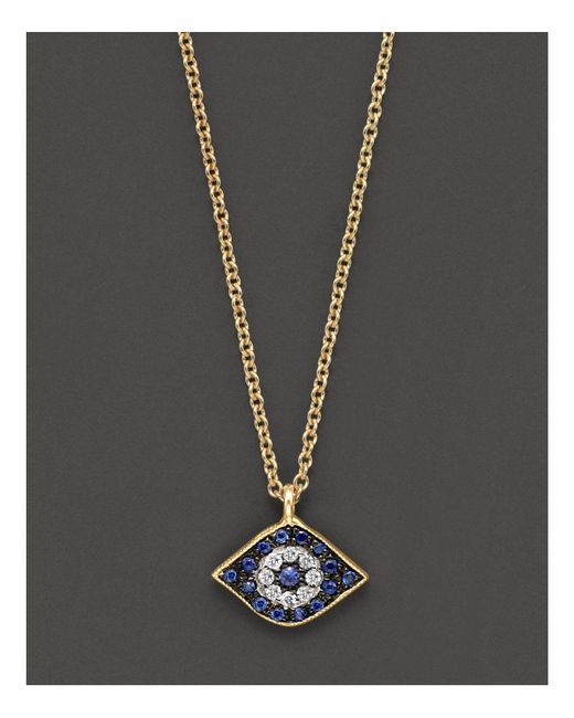 Meira T | Blue Sapphire And 14k Yellow Gold Evil Eye Pendant Necklace | Lyst