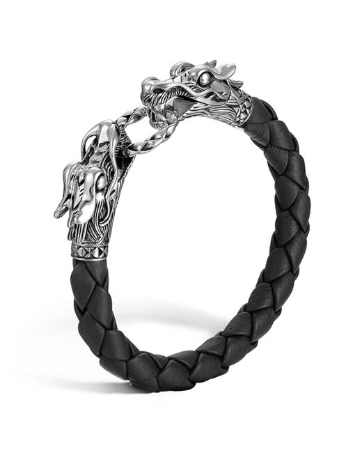 "John Hardy | ""naga"" Black Woven Leather Dragon Bracelet 