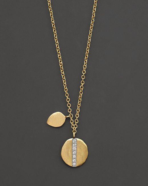 "Meira T | Metallic 14k Yellow Gold Diamond Line Pendant Necklace, 16"" | Lyst"