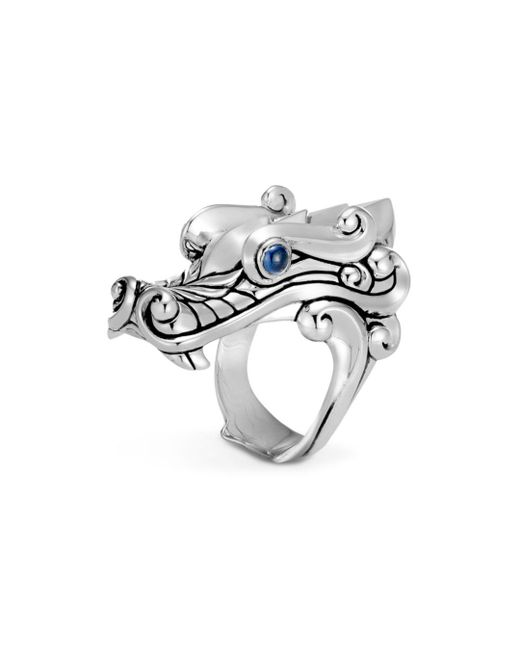John Hardy - Metallic Sterling Silver Legends Naga Ring With Sapphire Eyes for Men - Lyst