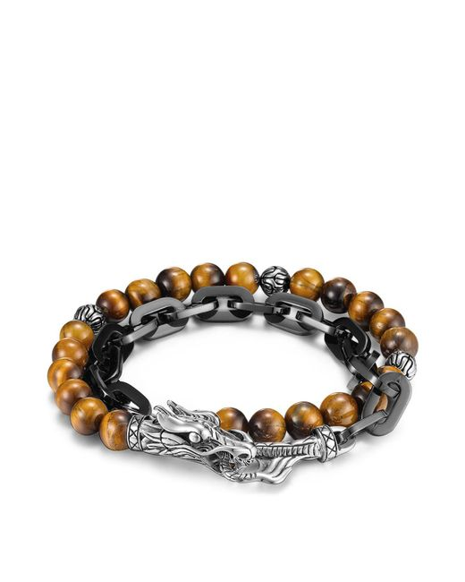 John Hardy - Brown Men's Naga Double Wrap Link Bracelet With Tiger's Eye for Men - Lyst