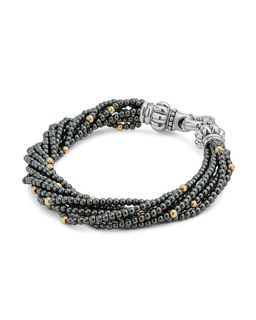 Lagos | Metallic 18k Gold And Sterling Silver Caviar Icon Hematite Beaded Multi Strand Bracelet | Lyst