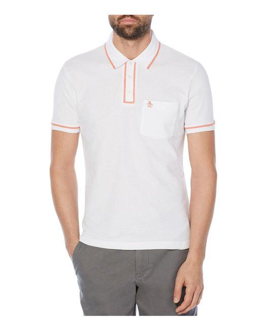 Original Penguin | White Earl Tipped Short Sleeve Polo Shirt for Men | Lyst