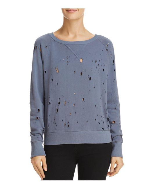 LNA - Blue Distressed Sweatshirt - Lyst