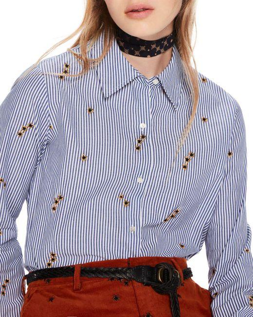 Scotch & Soda - Blue Star Embroidered Stripe Button-down Shirt - Lyst