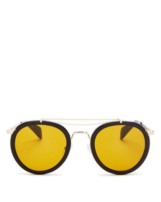 Rag & Bone - Yellow Men's 9001 Leather Wrap Sunglasses for Men - Lyst