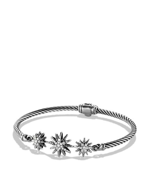 David Yurman - Metallic Starburst Three-station Cable Bracelet With Diamonds In Sterling Silver - Lyst