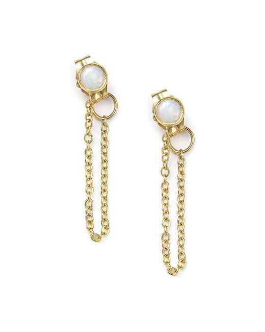 Zoe Chicco - Metallic 14k Yellow Gold Draped Chain And Opal Stud Earrings - Lyst
