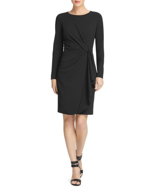 ae6ee24626176 Donna Karan - Black Twist-front Scuba-crepe Dress - Lyst ...