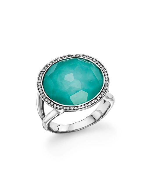 Ippolita | Metallic Sterling Silver Stella Lollipop Ring In Turquoise Doublet With Diamonds | Lyst