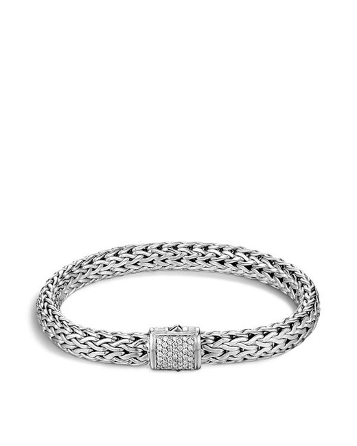 John Hardy | Metallic Classic Chain Sterling Silver Medium Bracelet With Diamond Pavé | Lyst