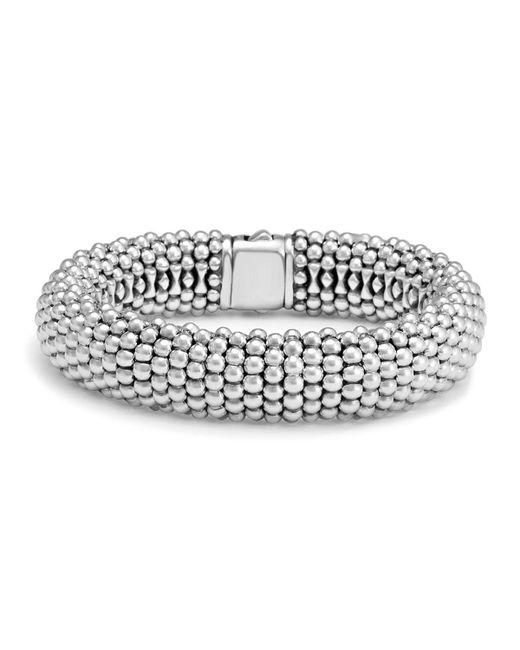 Lagos | Metallic Sterling Silver Caviar Oval Link Bracelet | Lyst