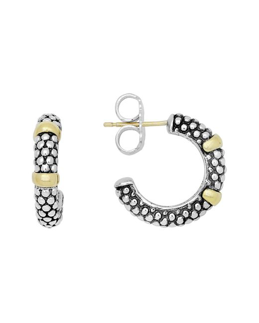 Lagos | Metallic 18k Gold And Sterling Silver Caviartm Beaded Hoop Earrings | Lyst