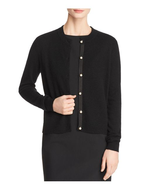 C By Bloomingdale's - Black Faux-pearl Button Cashmere Cardigan - Lyst
