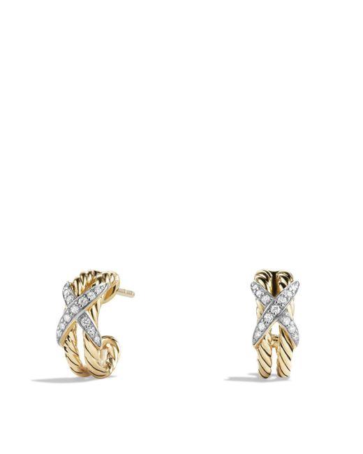David Yurman | Metallic X Double Cable Hoop Earrings With Diamonds In 18k Yellow Gold | Lyst