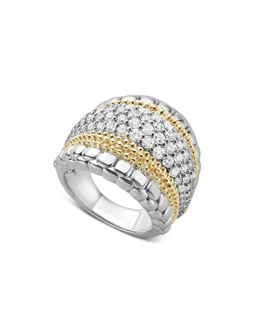 Lagos - Metallic 18k Gold And Sterling Silver Diamond Lux Large Ring - Lyst