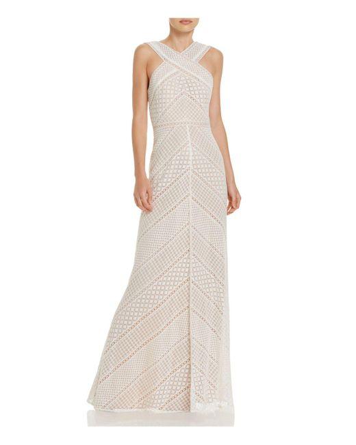 BCBGMAXAZRIA | White Crochet Gown | Lyst