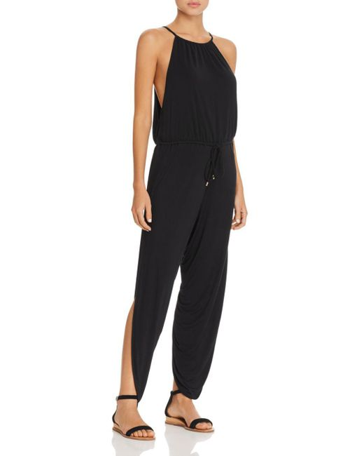 Laundry by Shelli Segal - Black Draped Jumpsuit Swim Cover-up - Lyst
