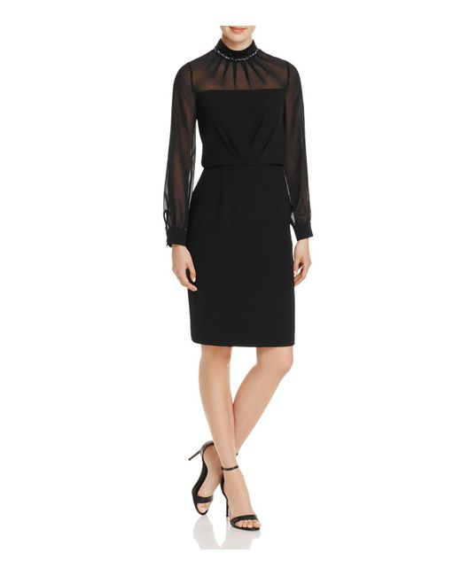 Adrianna Papell - Black Embellished-neck Crepe Dress - Lyst