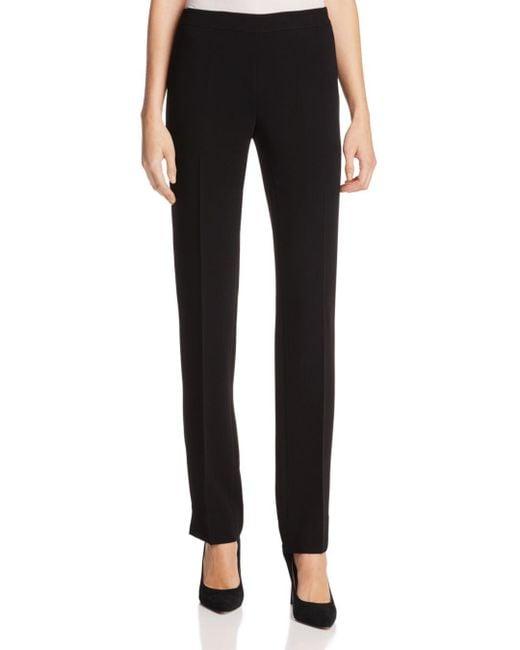 Lafayette 148 New York - Black Bleecker Silk Straight-leg Pants - Lyst