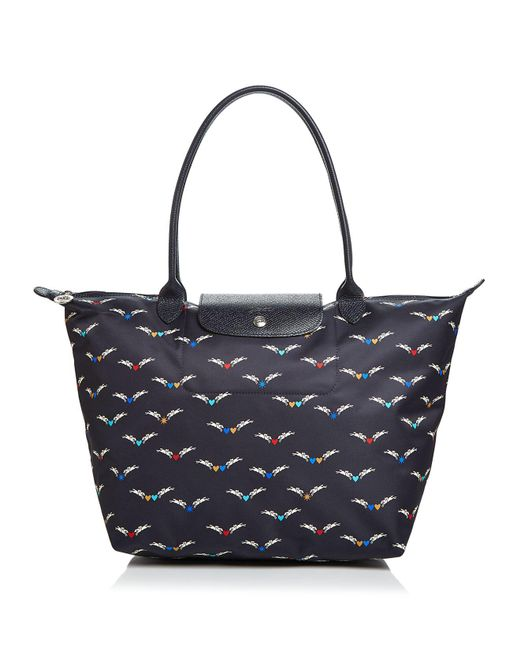 Longchamp - Blue Le Pliage Chevaux Ailles Nylon Shoulder Tote - Lyst