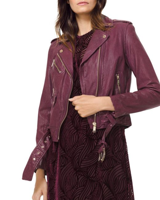 MICHAEL Michael Kors - Purple Leather Moto Jacket - Lyst