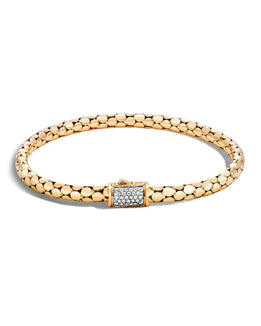 John Hardy - Metallic 18k Yellow Gold Dot Slim Chain Bracelet With Diamonds - Lyst