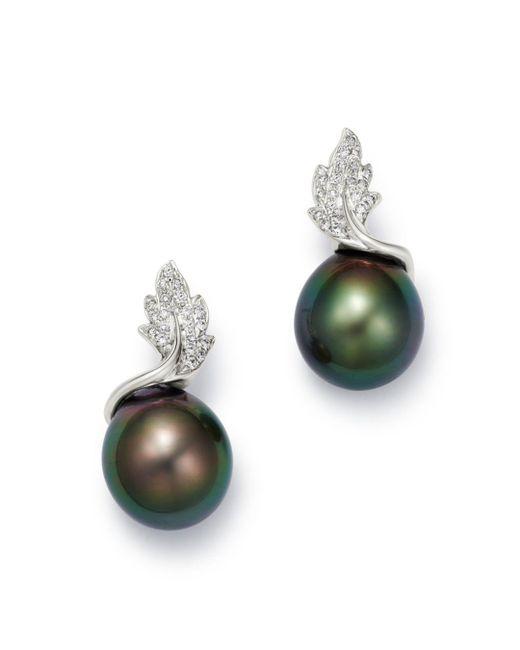 Tara Pearls - 14k White Gold Leaf Diamond & Tahitian Cultured Pearl Drop Earrings - Lyst