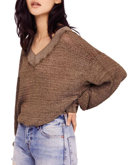 Free People - Brown South Side Thermal Sweater - Lyst