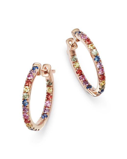 Bloomingdale's - Multicolored Sapphire Inside Out Hoop Earrings In 14k Rose Gold - Lyst