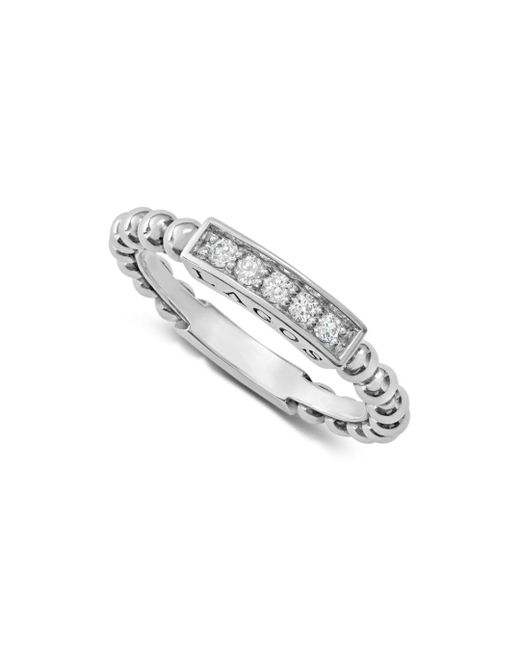 Lagos - Metallic Sterling Silver Caviar Spark Diamond Stacking Ring - Lyst