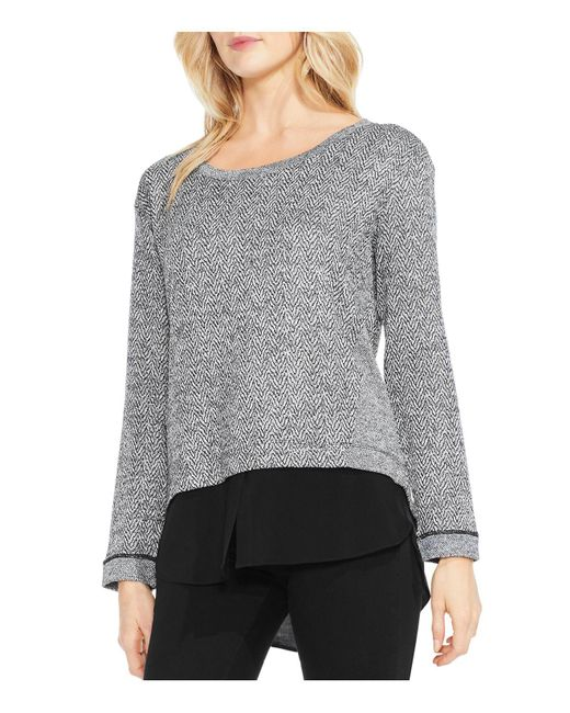 Vince Camuto | Gray Herringbone Layered Look Top | Lyst