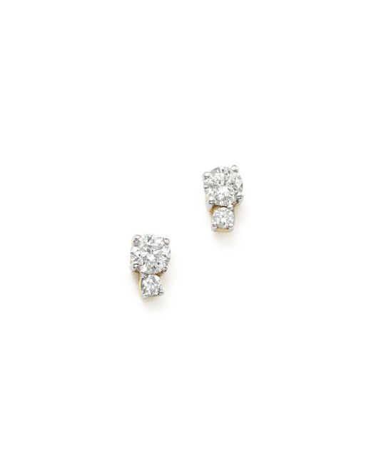 Adina Reyter - Metallic 14k Yellow Gold Amigos Tiny Double Diamond Stud Earrings - Lyst