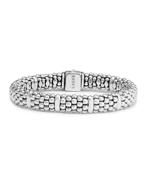 Lagos - Metallic Sterling Silver Caviar Beaded Rope Bracelet - Lyst