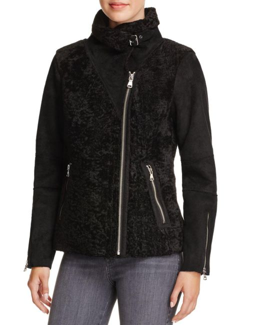 Vince Camuto - Black Faux Shearling Bomber Jacket - Lyst