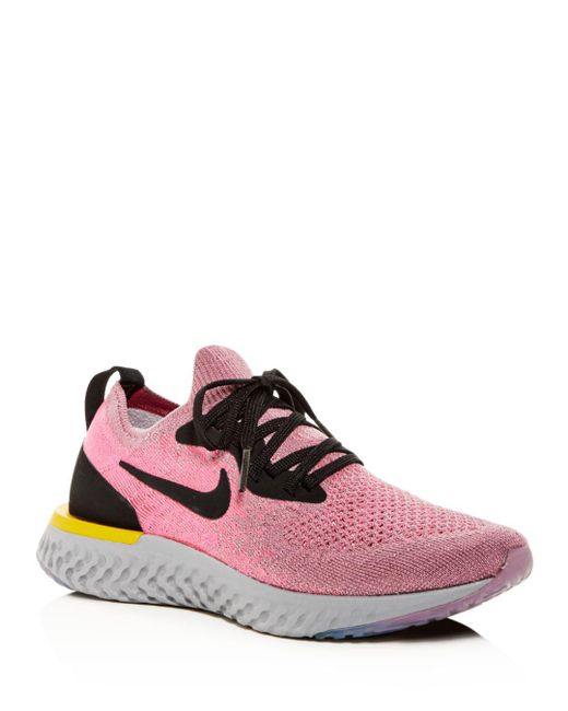 Nike - Pink Women's Epic React Flyknit Lace-up Sneakers - Lyst