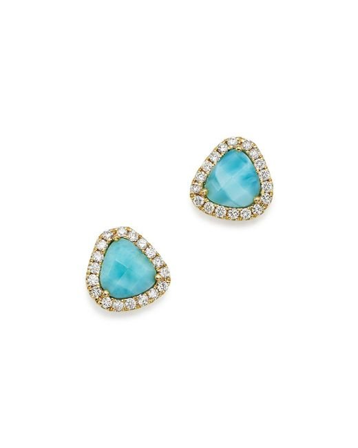 Meira T | Blue 14k Yellow Gold Larimar And Diamond Stud Earrings | Lyst