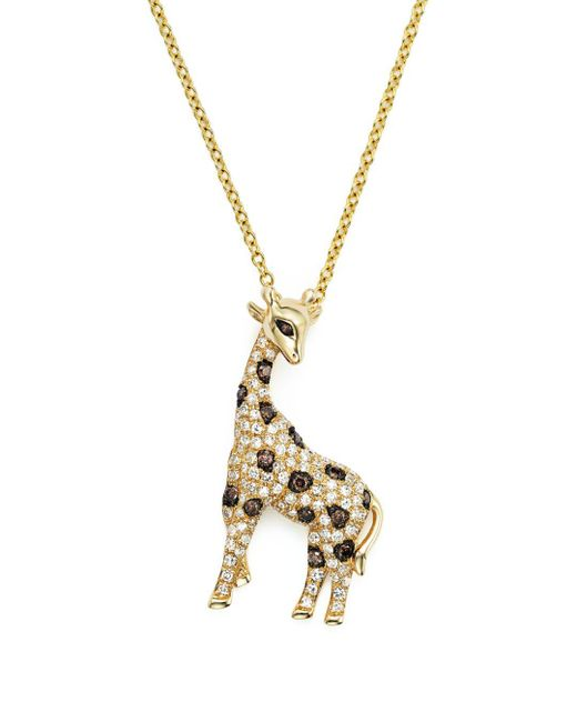 "Bloomingdale's - Metallic White, Brown And Black Diamond Giraffe Pendant Necklace In 14k Yellow Gold, 18"" - Lyst"