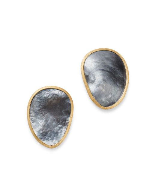 Marco Bicego - Metallic 18k Yellow Gold Lunaria Black Mother Of Pearl Stud Earrings - Lyst