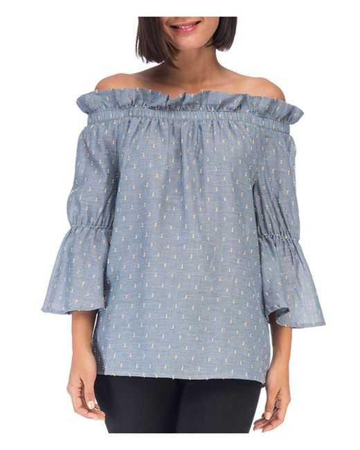 B Collection By Bobeau - Blue Martha Chambray Off-the-shoulder Top - Lyst