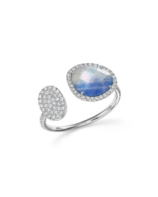 Meira T | Blue 14k White Gold Sapphire And Moonstone Doublet Open Ring With Diamonds | Lyst