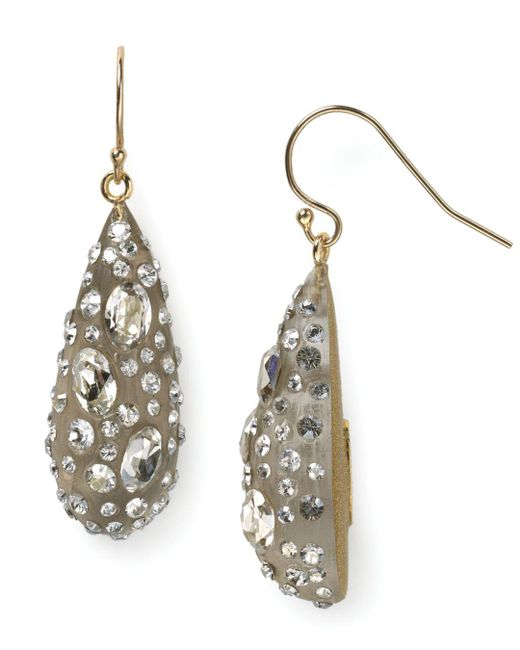 Alexis Bittar - Gray Lucite Crystal Dust Dewdrop Earrings - Lyst