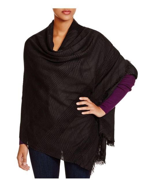Echo - Black Pleated Wrap Scarf - Lyst