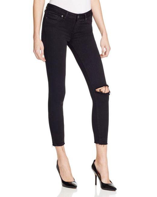 PAIGE - Verdugo Crop Jeans In Jet Black Destroyed - Lyst