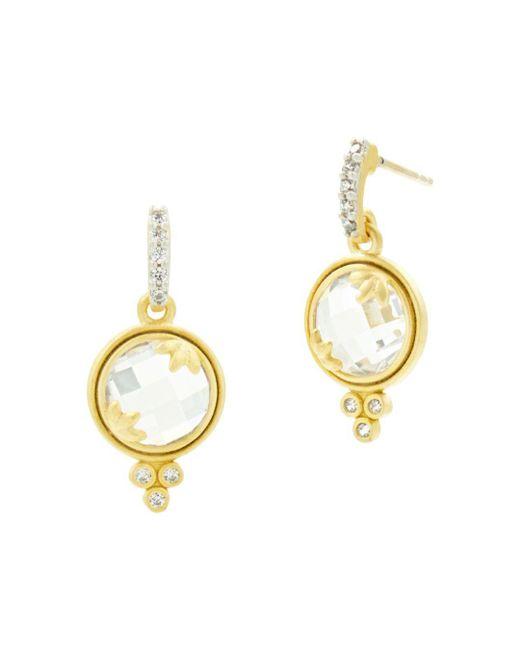 Freida Rothman - Metallic Fleur Bloom Mini Faceted Drop Earrings - Lyst