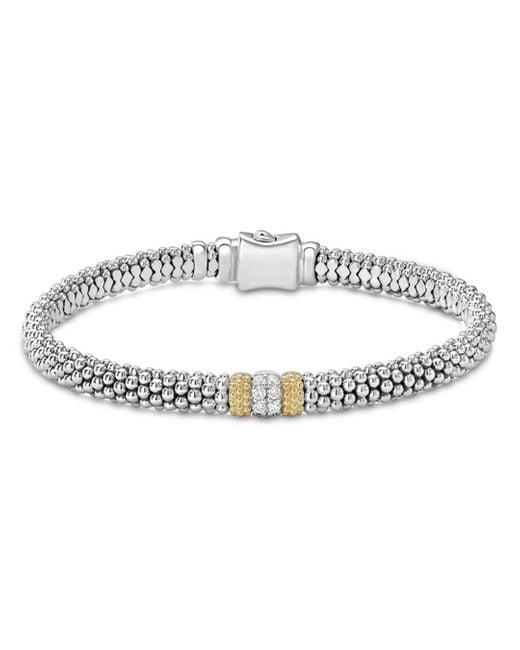 Lagos - Metallic 18k Gold & Sterling Silver Diamond Lux Single Station Bracelet - Lyst