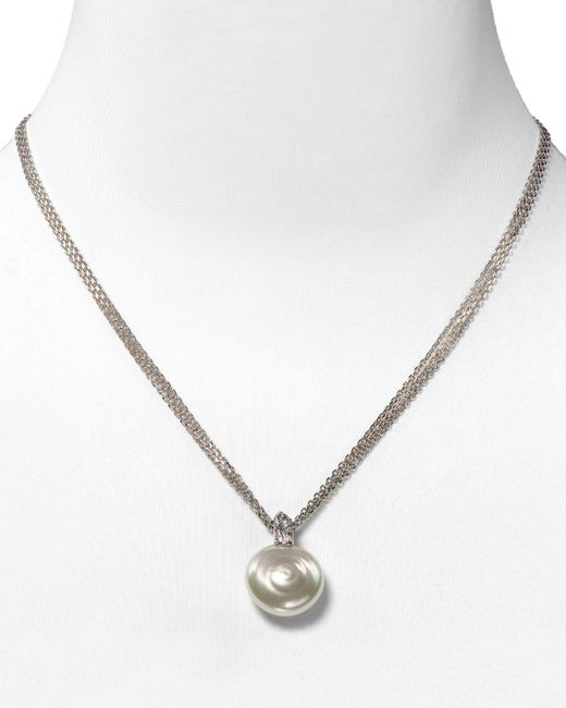 Majorica | White Coin Simulated Pearl Pendant Necklace | Lyst