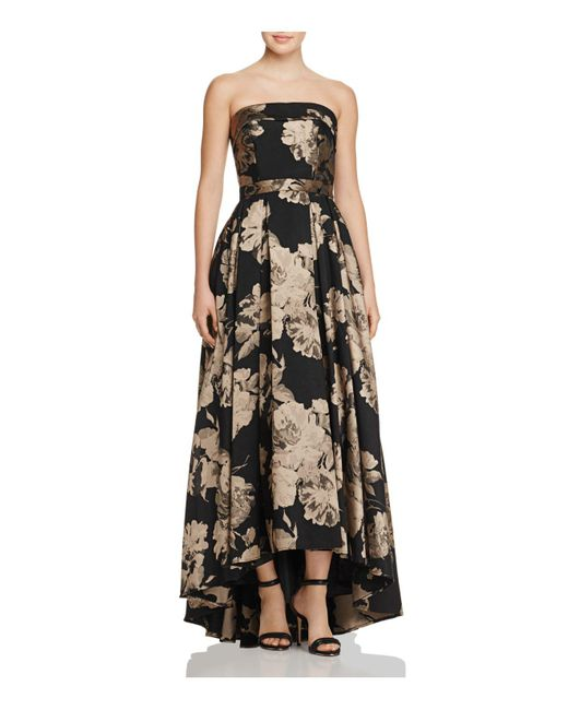 Betsy & Adam - Black Floral Strapless Gown - Lyst